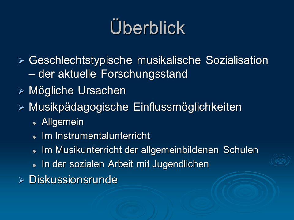 Überblick Geschlechtstypische musikalische Sozialisation – der aktuelle Forschungsstand. Mögliche Ursachen.