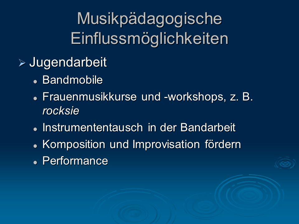 Musikpädagogische Einflussmöglichkeiten