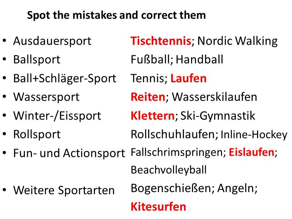 Tischtennis; Nordic Walking Fußball; Handball Tennis; Laufen