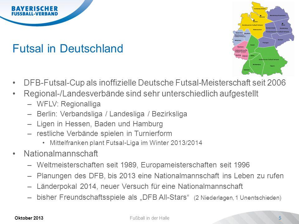 Futsal in Deutschland DFB-Futsal-Cup als inoffizielle Deutsche Futsal-Meisterschaft seit 2006.