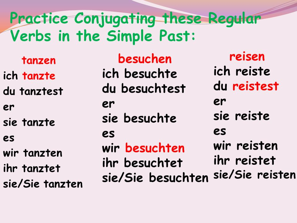 Practice Conjugating these Regular Verbs in the Simple Past: