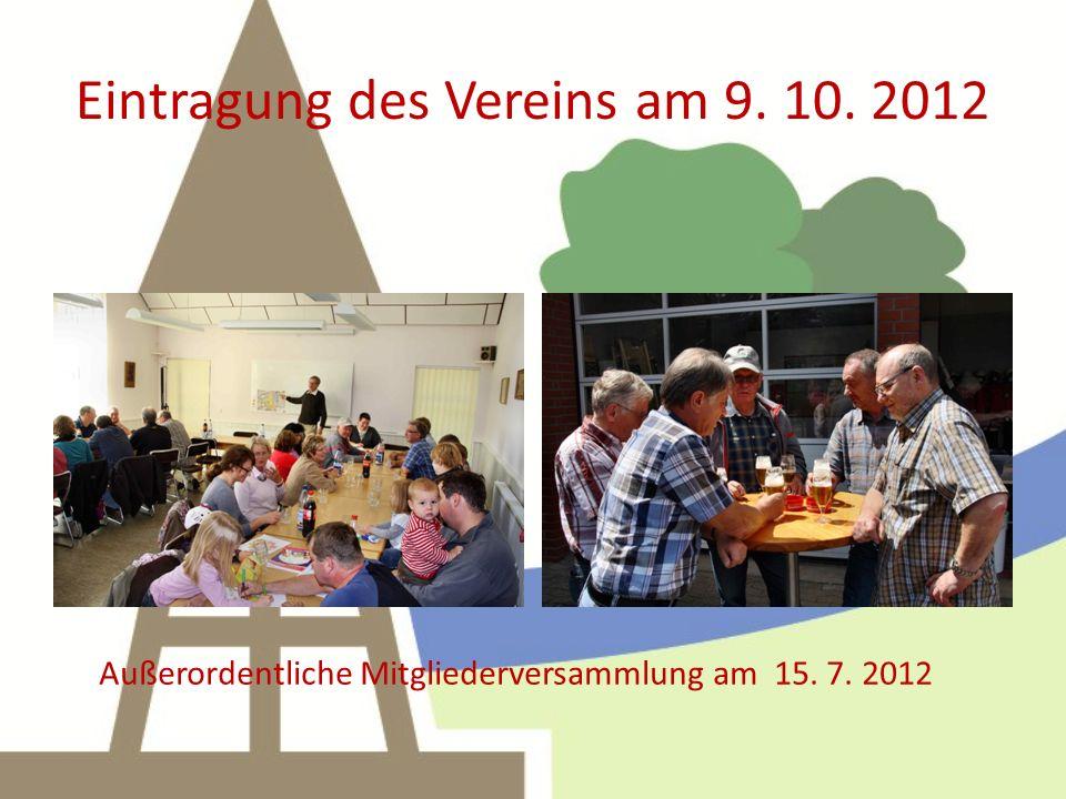 Eintragung des Vereins am 9. 10. 2012