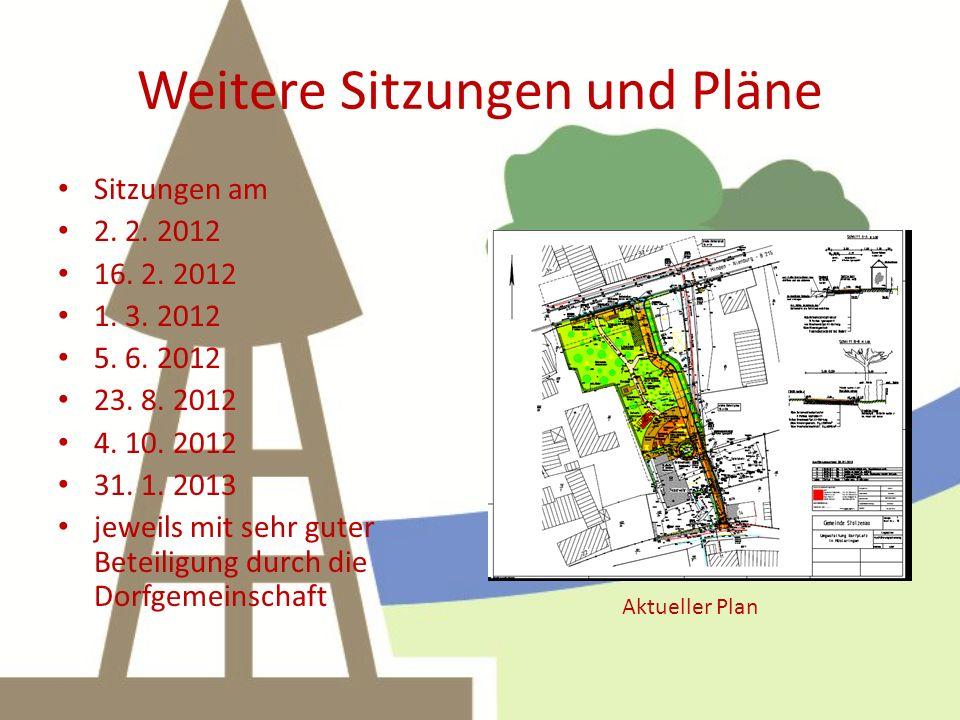 Weitere Sitzungen und Pläne