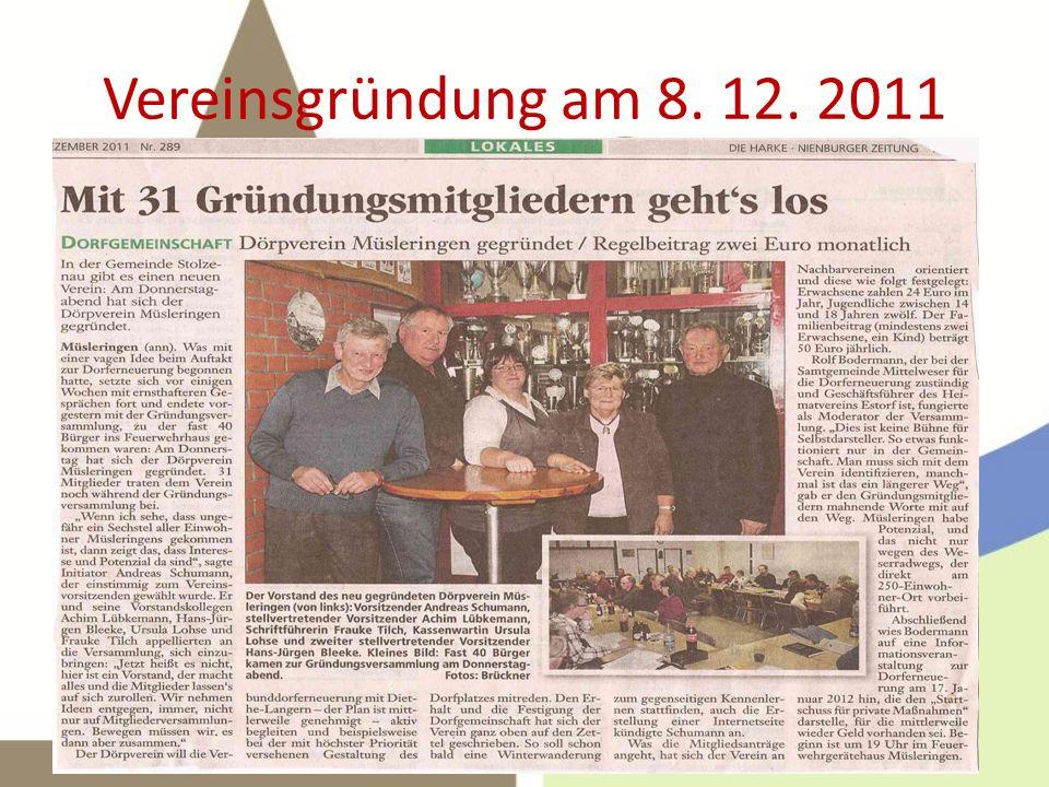 Vereinsgründung am 8. 12. 2011