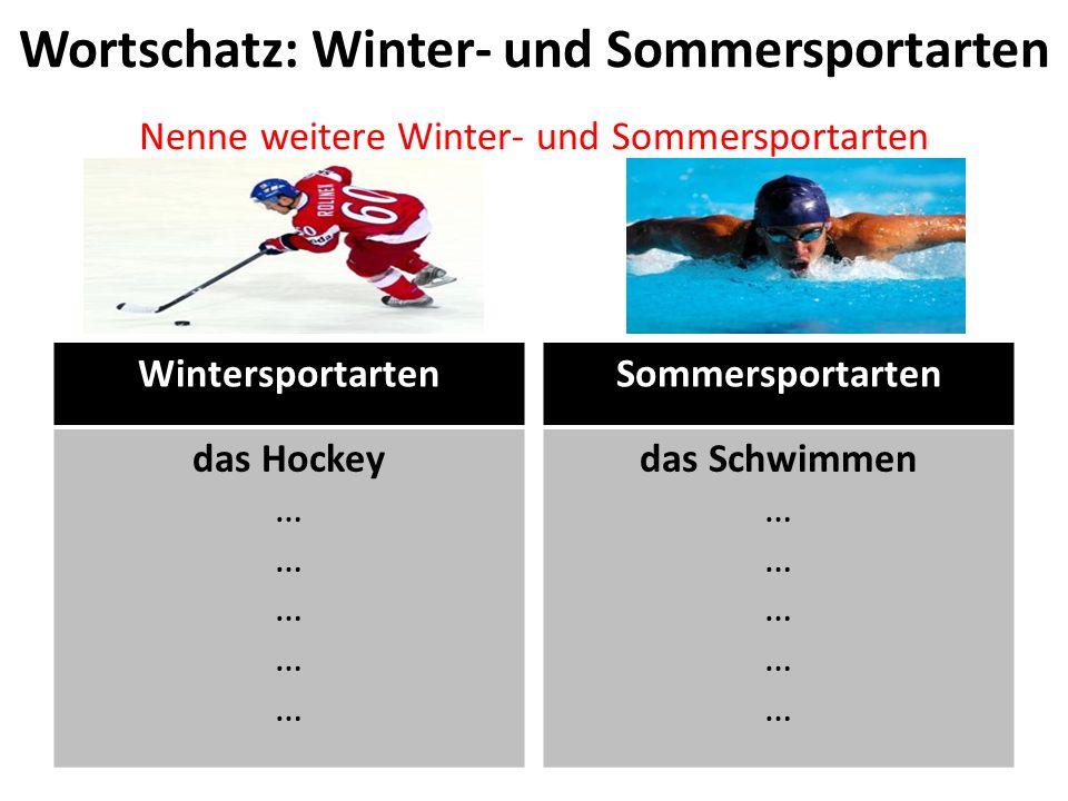 Wortschatz: Winter- und Sommersportarten Nenne weitere Winter- und Sommersportarten
