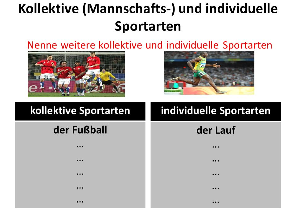 kollektive Sportarten individuelle Sportarten
