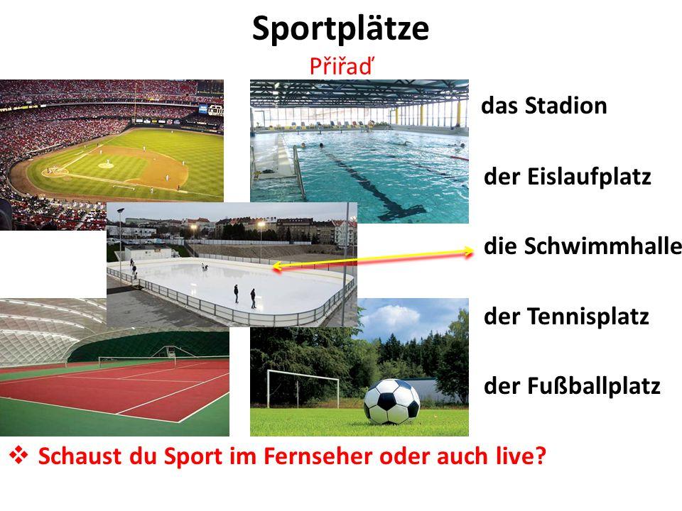 Sportplätze Přiřaď das Stadion der Eislaufplatz die Schwimmhalle