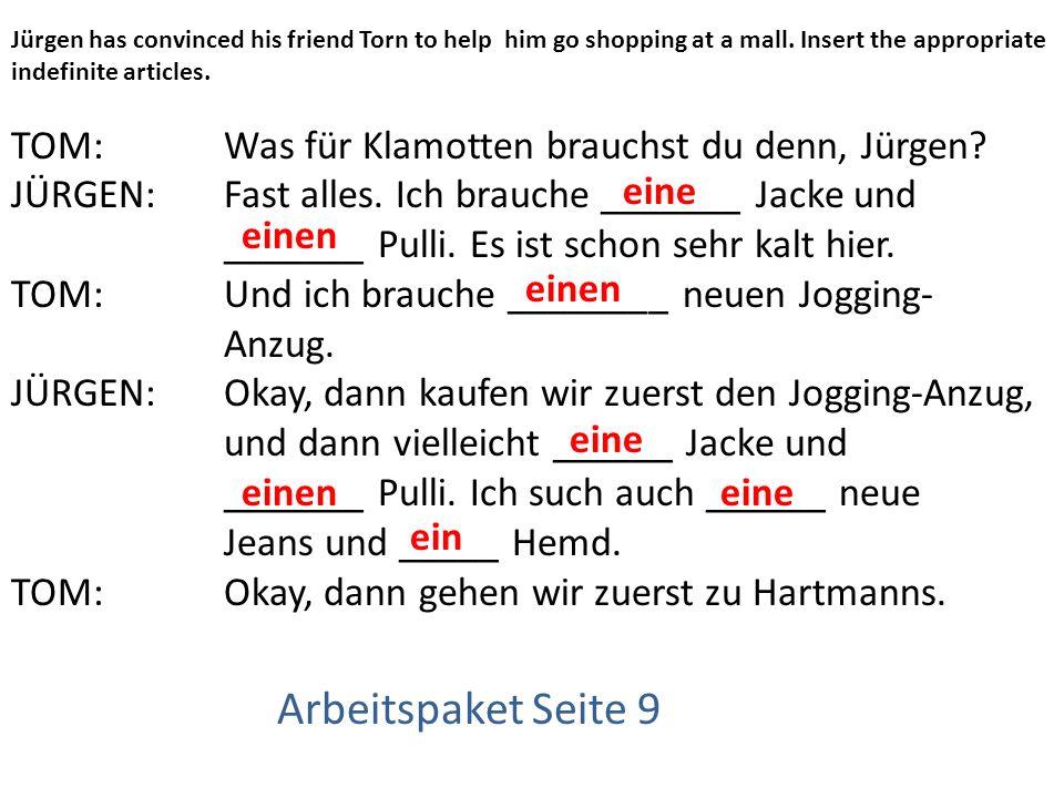 Arbeitspaket Seite 9 TOM: Was für Klamotten brauchst du denn, Jürgen