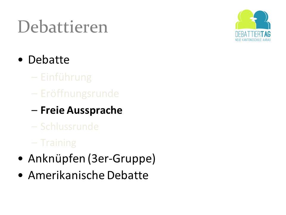 Debattieren Debatte Anknüpfen (3er-Gruppe) Amerikanische Debatte