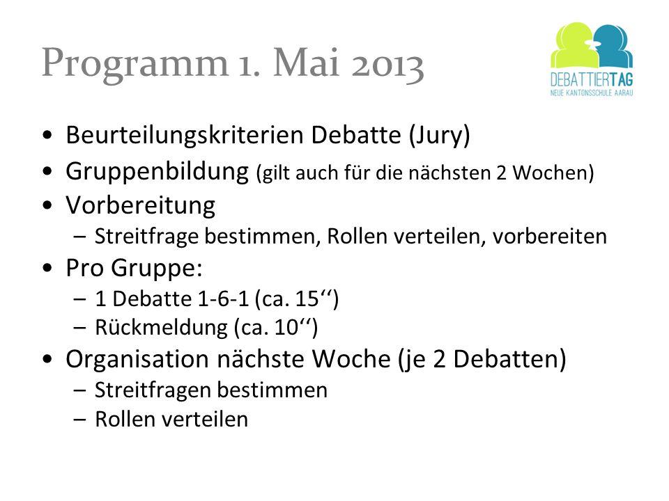 Programm 1. Mai 2013 Beurteilungskriterien Debatte (Jury)