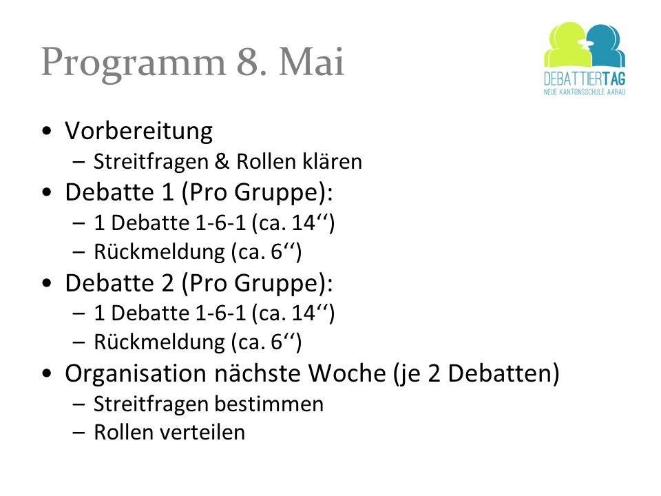 Programm 8. Mai Vorbereitung Debatte 1 (Pro Gruppe):