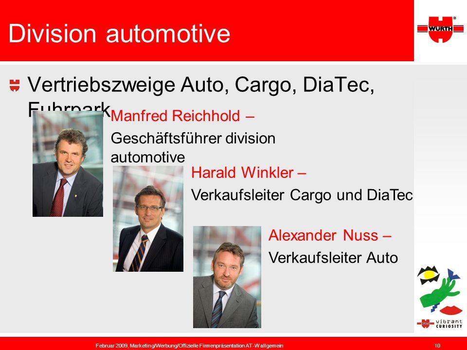 Division automotive Vertriebszweige Auto, Cargo, DiaTec, Fuhrpark