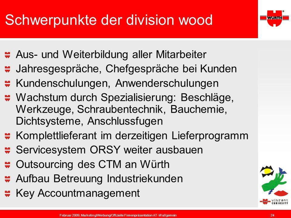 Schwerpunkte der division wood