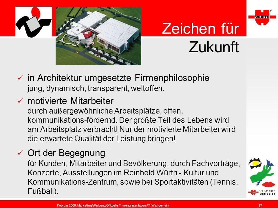 Zeichen für Zukunft in Architektur umgesetzte Firmenphilosophie jung, dynamisch, transparent, weltoffen.
