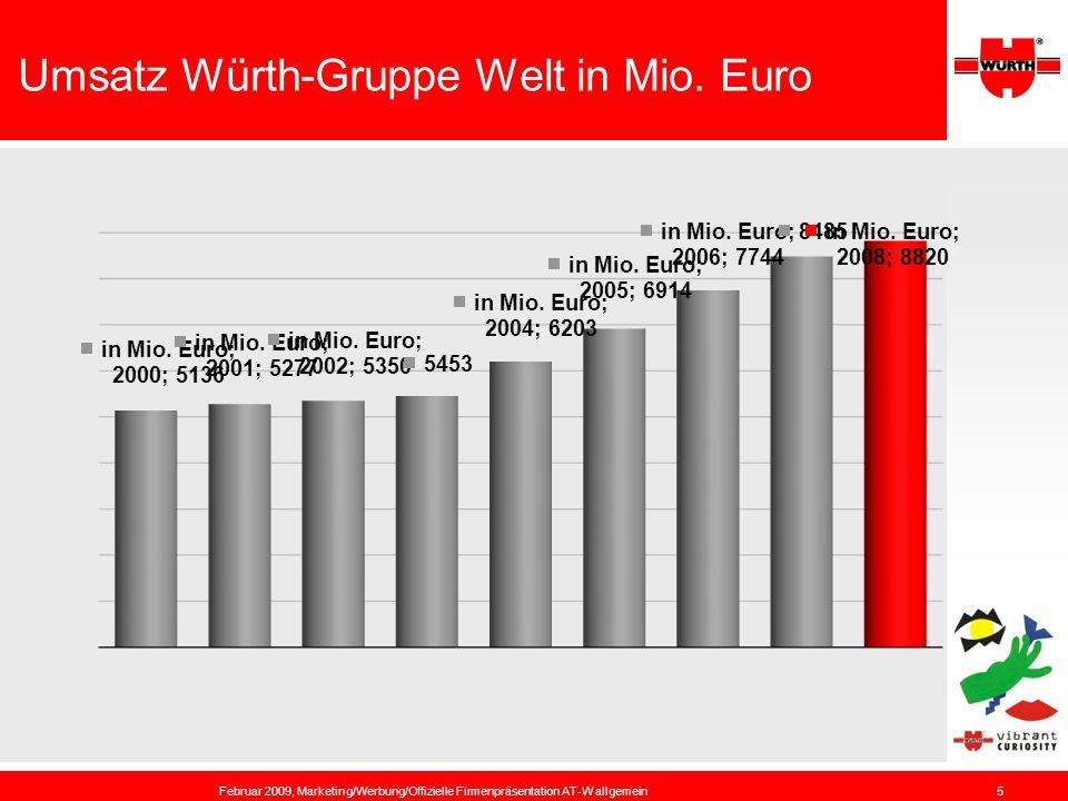 Umsatz Würth-Gruppe Welt in Mio. Euro