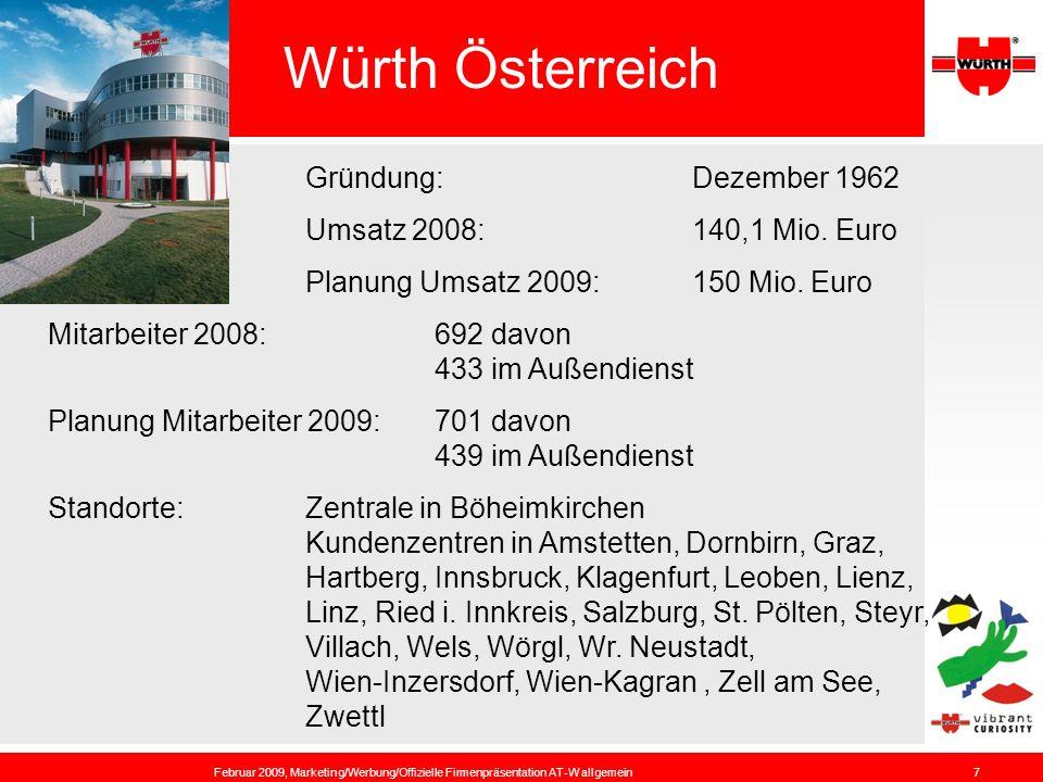 Würth Österreich Gründung: Dezember 1962 Umsatz 2008: 140,1 Mio. Euro