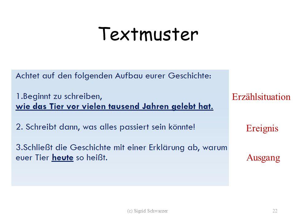 Textmuster Erzählsituation Ereignis Ausgang (c) Sigrid Schwarzer