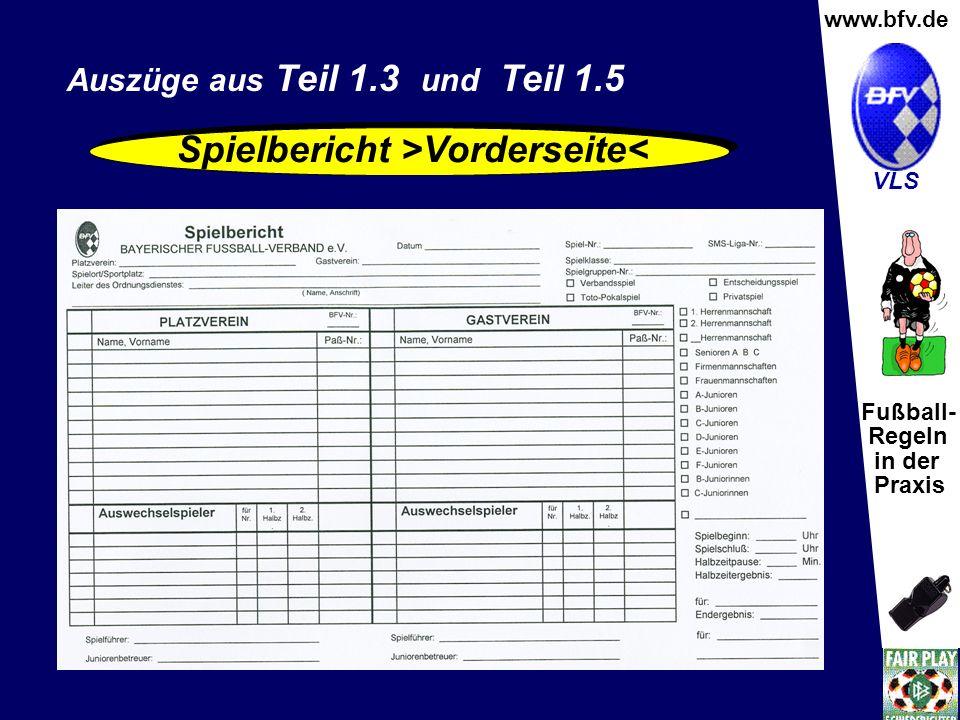 Spielbericht >Vorderseite<