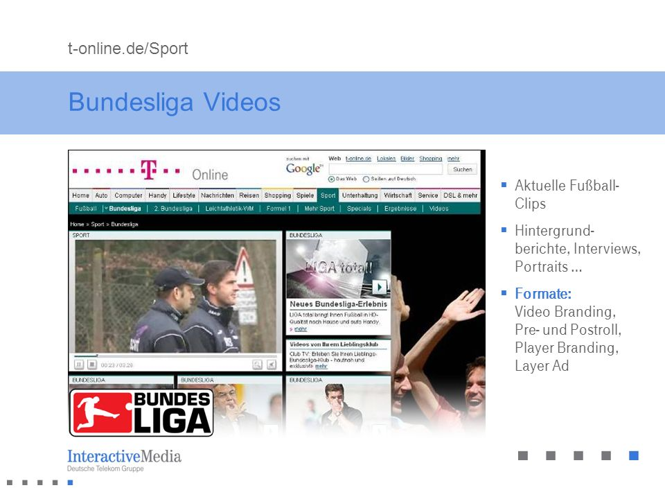 Bundesliga Videos t-online.de/Sport Aktuelle Fußball-Clips