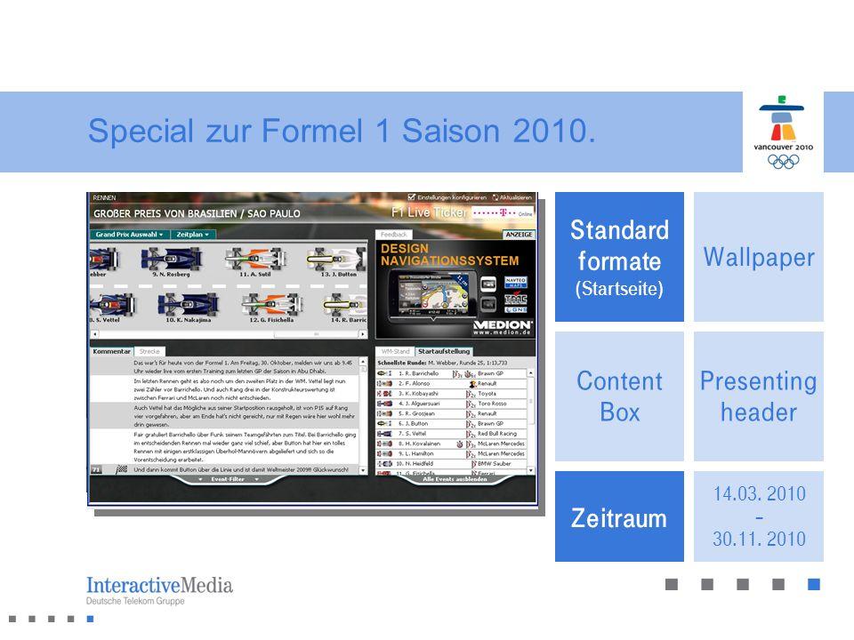 Special zur Formel 1 Saison 2010.