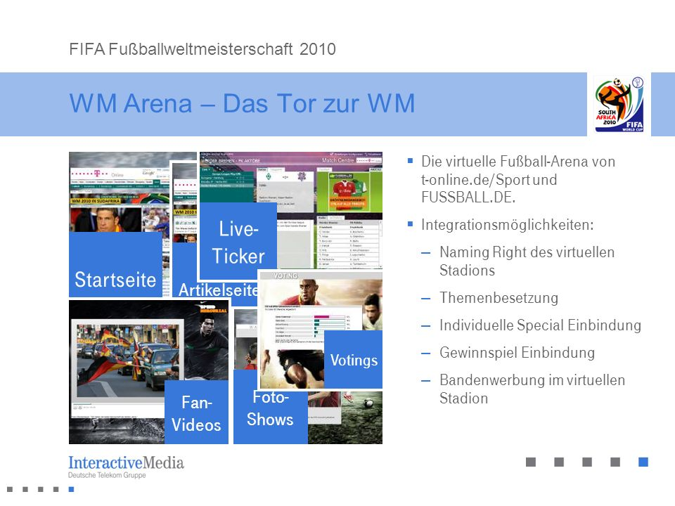 """WM Arena – Das Tor zur WM Live- Ticker Startseite """"WM Arena"""