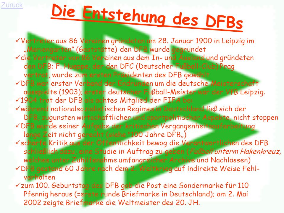 Die Entstehung des DFBs