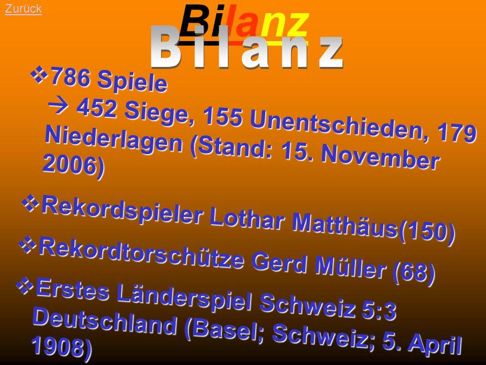 Bilanz Zurück. Bilanz. 786 Spiele  452 Siege, 155 Unentschieden, 179 Niederlagen (Stand: 15. November 2006)