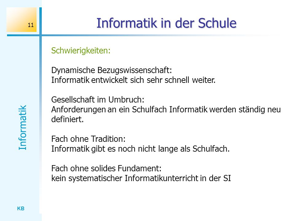 Informatik in der Schule