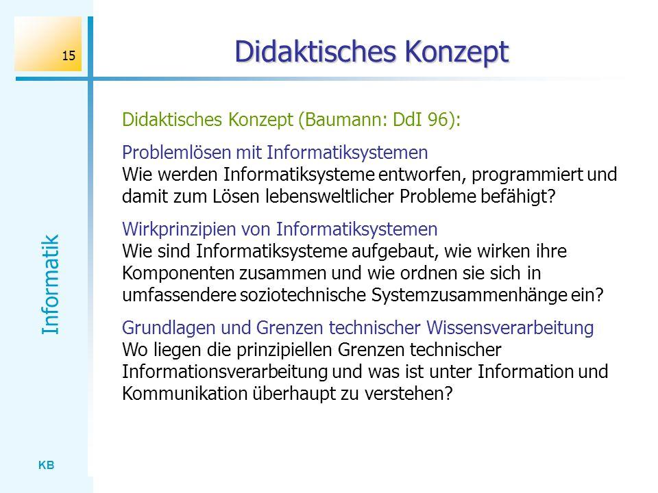 Didaktisches Konzept Didaktisches Konzept (Baumann: DdI 96):