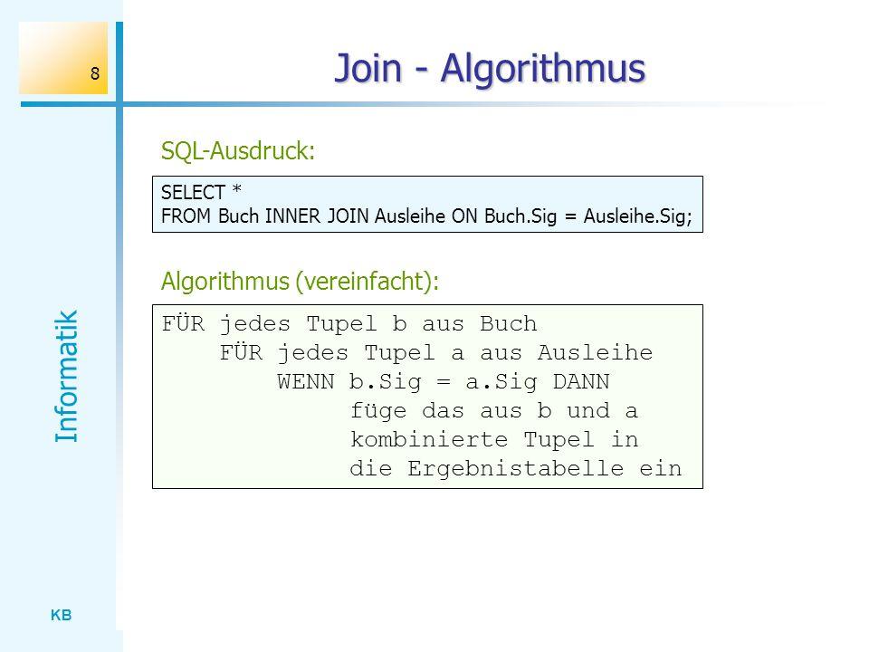 Join - Algorithmus SQL-Ausdruck: Algorithmus (vereinfacht):