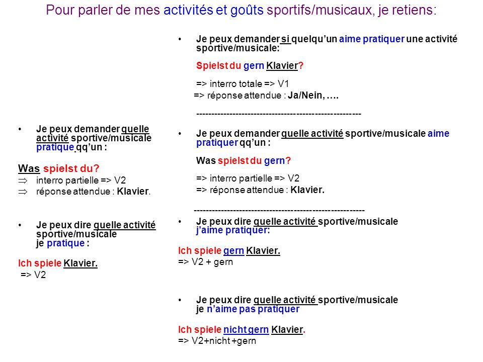 Pour parler de mes activités et goûts sportifs/musicaux, je retiens: