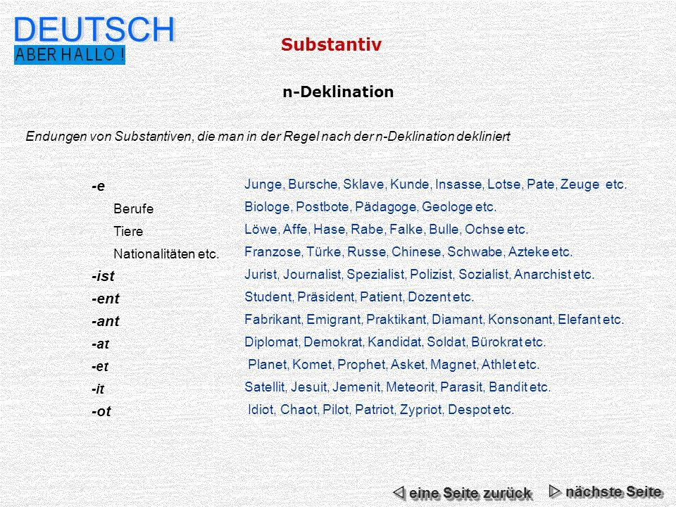 DEUTSCH Substantiv n-Deklination