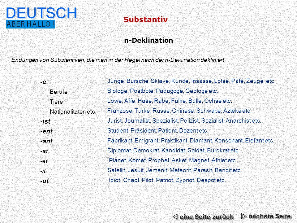 DEUTSCH Substantiv n-Deklination