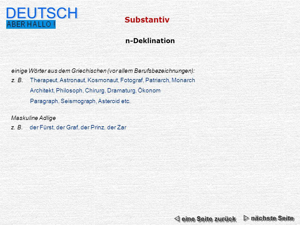 DEUTSCH Substantiv n-Deklination  eine Seite zurück  nächste Seite