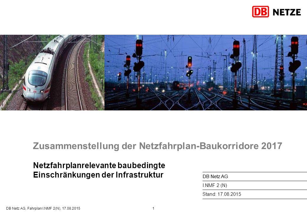Zusammenstellung der Netzfahrplan-Baukorridore 2017