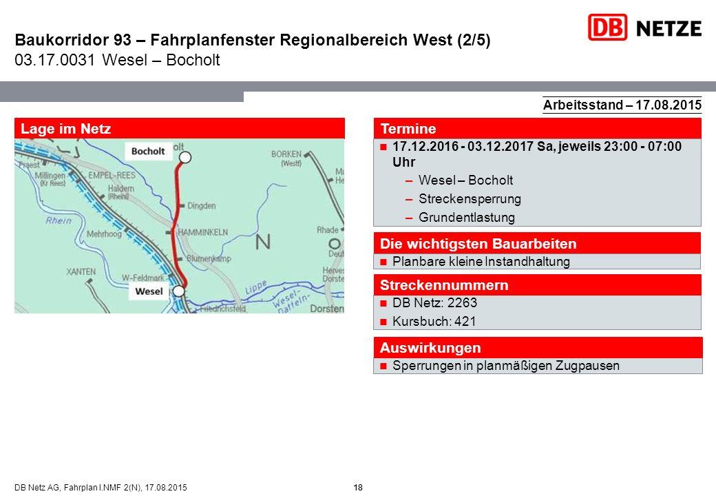 Baukorridor 93 – Fahrplanfenster Regionalbereich West (2/5) 03. 17
