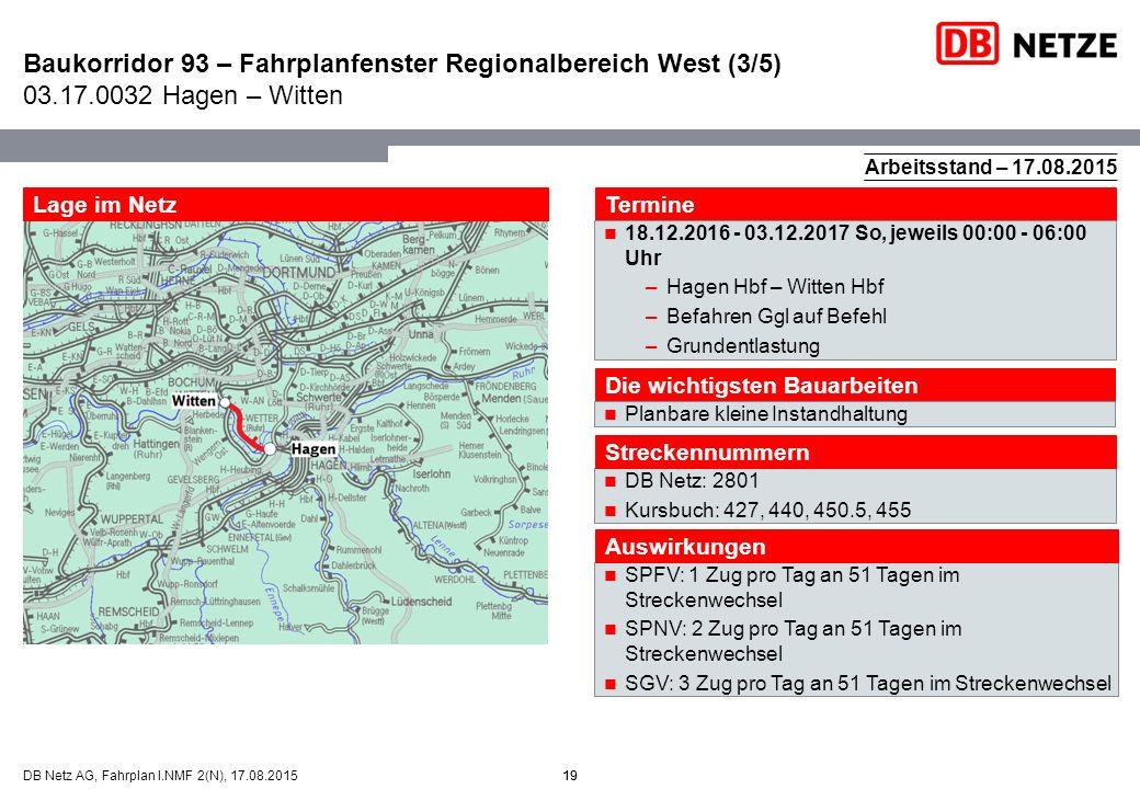Baukorridor 93 – Fahrplanfenster Regionalbereich West (3/5) 03. 17