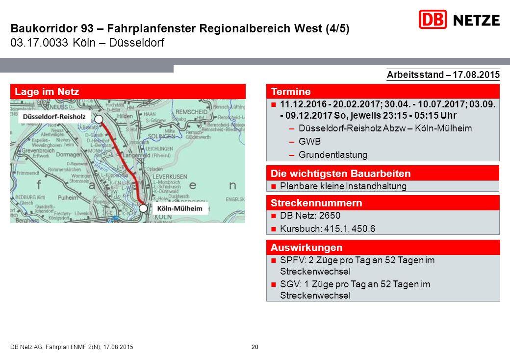 Baukorridor 93 – Fahrplanfenster Regionalbereich West (4/5) 03. 17