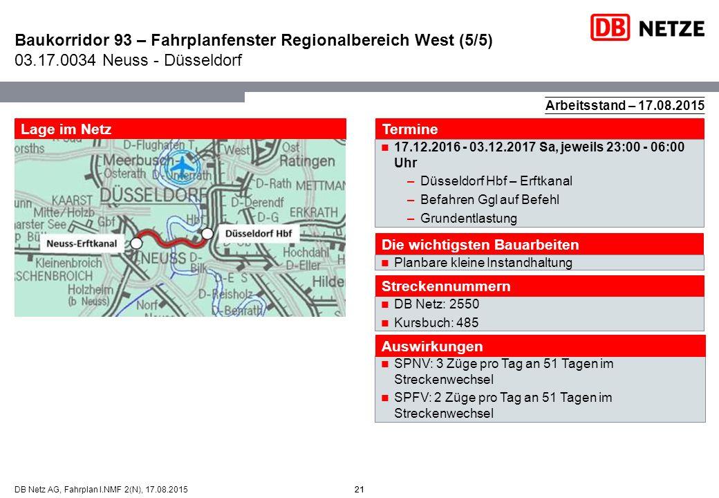 Baukorridor 93 – Fahrplanfenster Regionalbereich West (5/5) 03. 17