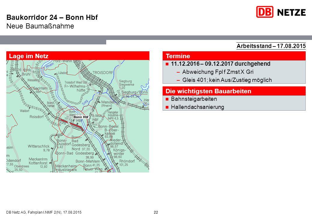 Baukorridor 24 – Bonn Hbf Neue Baumaßnahme