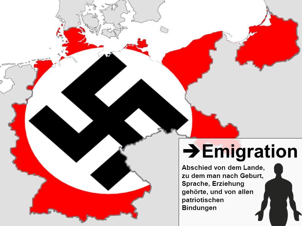 Emigration Abschied von dem Lande, zu dem man nach Geburt, Sprache, Erziehung gehörte, und von allen patriotischen Bindungen.