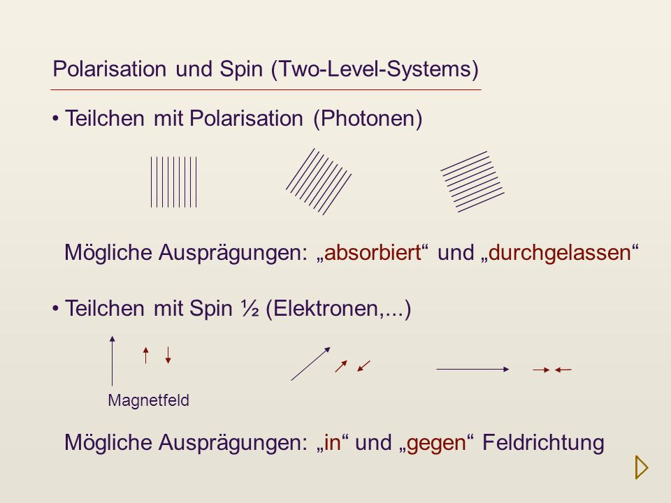 Polarisation und Spin (Two-Level-Systems)