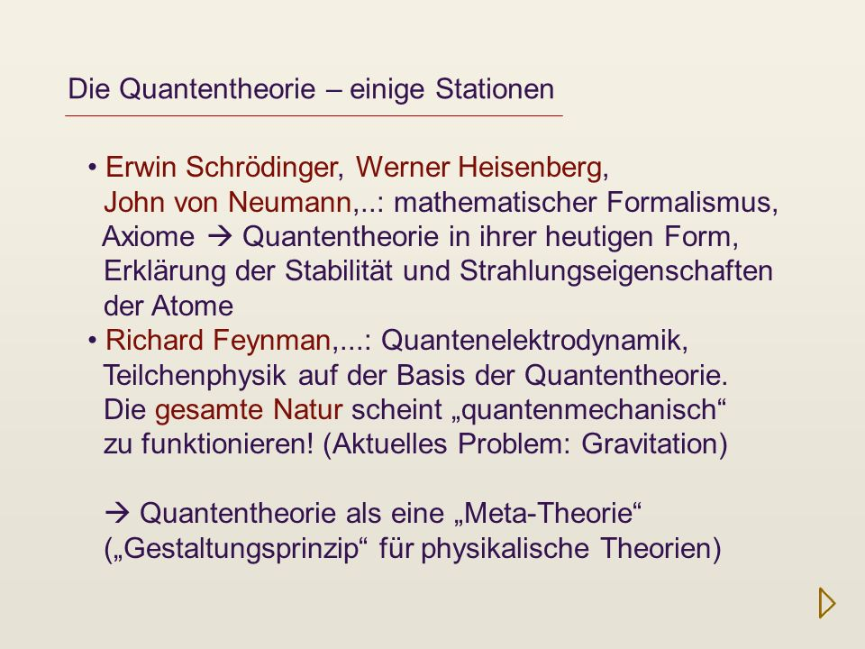 Die Quantentheorie – einige Stationen