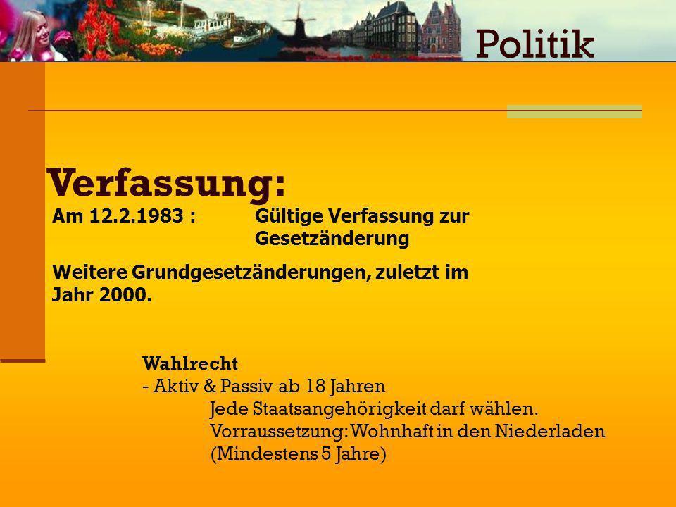 Politik Verfassung: Am 12.2.1983 : Gültige Verfassung zur Gesetzänderung. Weitere Grundgesetzänderungen, zuletzt im Jahr 2000.