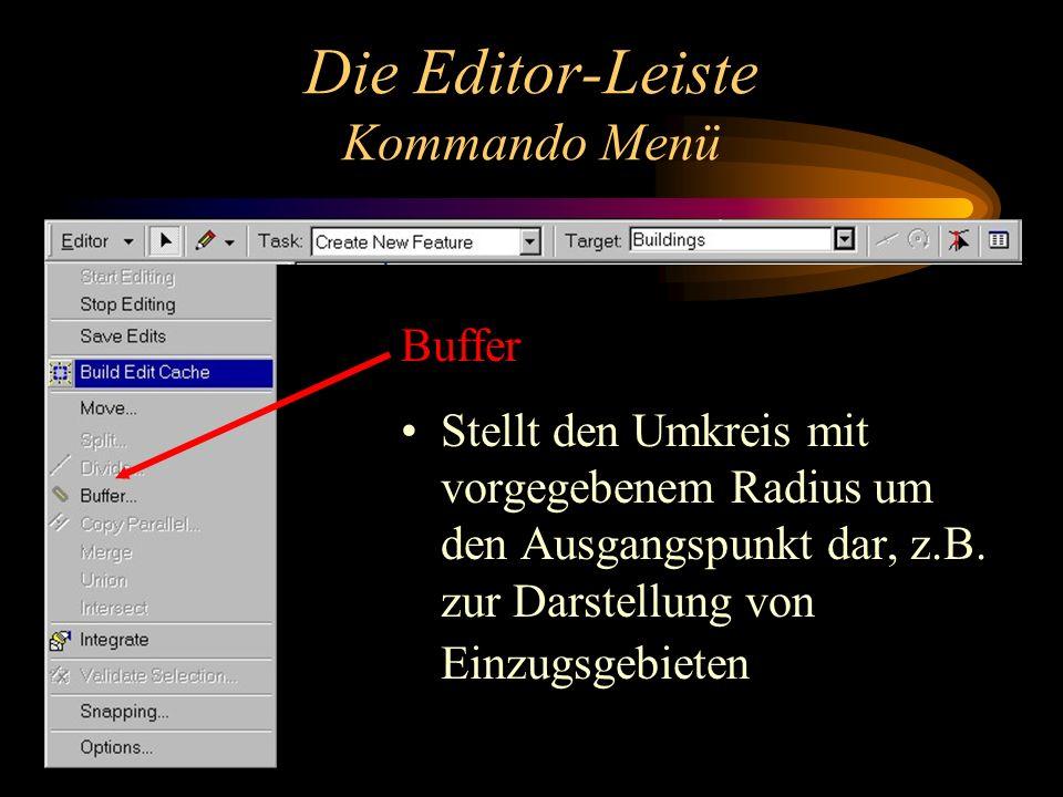 Die Editor-Leiste Kommando Menü