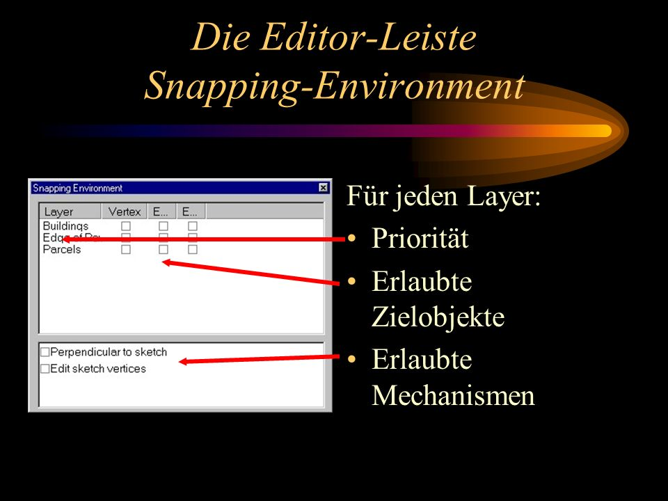 Die Editor-Leiste Snapping-Environment