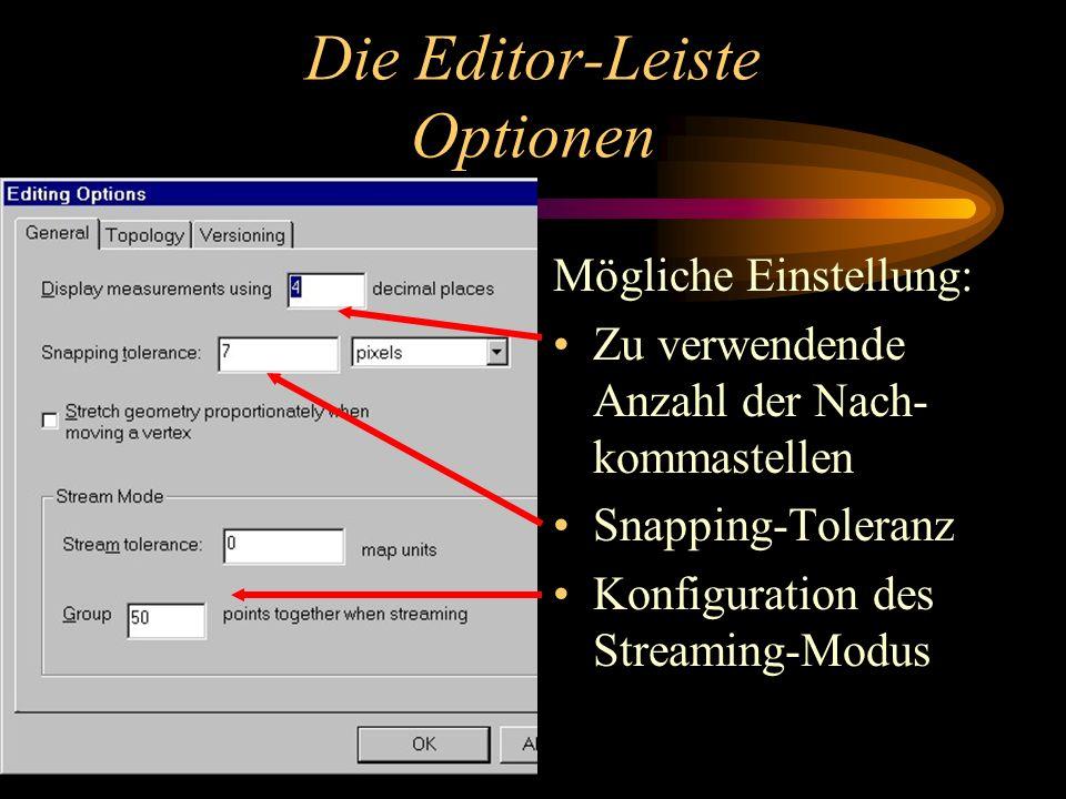 Die Editor-Leiste Optionen