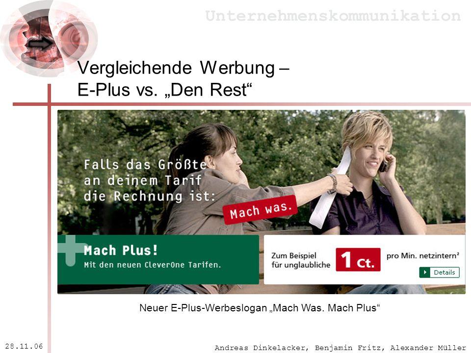 "Vergleichende Werbung – E-Plus vs. ""Den Rest"