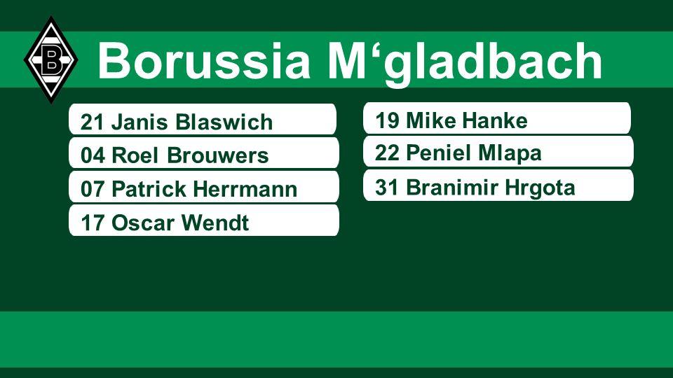 Borussia M'gladbach 21 Janis Blaswich 19 Mike Hanke 22 Peniel Mlapa