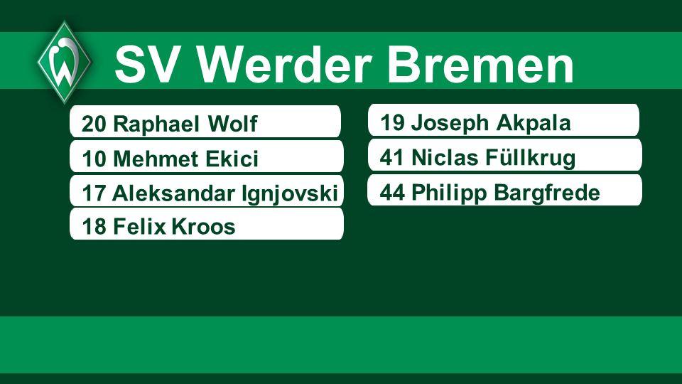SV Werder Bremen 20 Raphael Wolf 19 Joseph Akpala 10 Mehmet Ekici